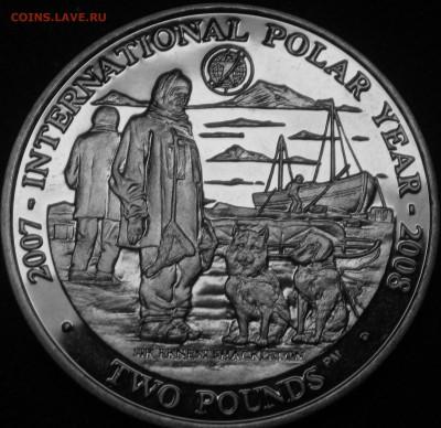 Монеты с изображением собак. - 2фунта07 Шелктон,собаки,китобойный вельбот
