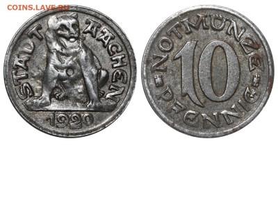Монеты с изображением собак. - Германия - Аахен - Нотгельд - 10 пфеннигов-1920