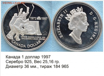 Хоккей на монетах - Канада 1997