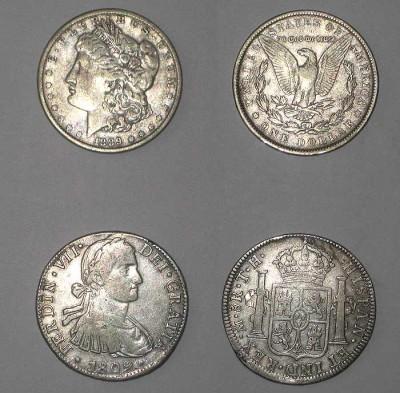 США 1889, Испания 1809 - coins