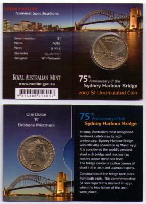 Блокада29р Конституция 95Ну погоди450Армия320,1е муль1050 - 2007 Sydney Harbour Bridge 75th Years $1 Coin - 'B' Mintmark 2-2.99