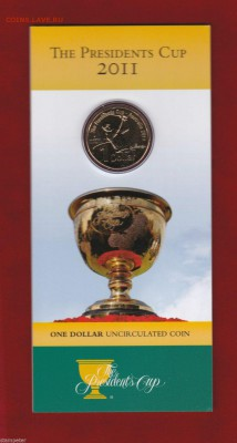 Блокада29р Конституция 95Ну погоди450Армия320,1е муль1050 - 2011 Australia The Presidents Cup Golf $1 Uncirculated Coin 1-19.99
