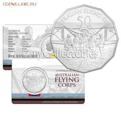 Блокада29р Конституция 95Ну погоди450Армия320,1е муль1050 - 2014 Australia at War Series - The Flying Corps - 50c Coin 1-12.5