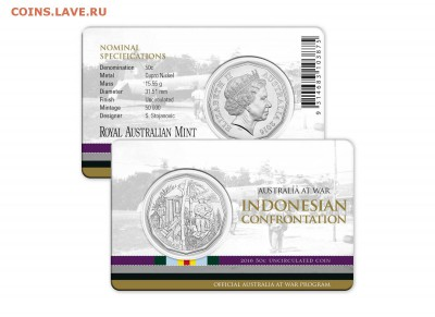 Блокада29р Конституция 95Ну погоди450Армия320,1е муль1050 - 2016 Australia at War Series - Indonesian Confrontation - 50c Coin 2-10