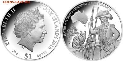 Кошки на монетах - 2016 1 доллар Флиндерс