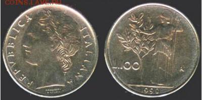Италия 100 лир 1990 г, до 21.00 мск 01.10.2016 - Италия 100 лир, 1990