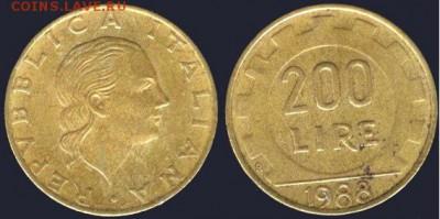 Италия 200 лир-1988, до  21.00 мск 01.10.2016 - Италия 200 лир - 1988