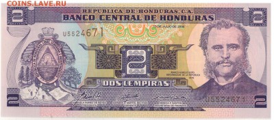 Гондурас 2 лемпира 2012 до 31.10.16 в 22.00мск (В476) - 1-1гон2а