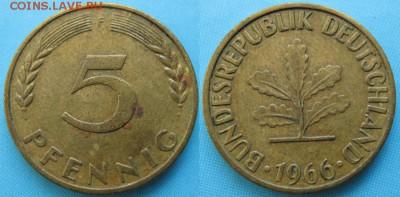 ФРГ 5 пфеннигов 1966 F: до 14-11-16 в 22:00 - ФРГ 5 пфеннигов 1966 F    166-ас8-5140