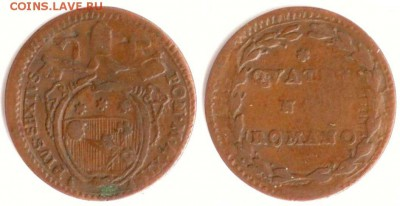 Пий VI - Ватикан 1 кватрино 1786-XII KM-1223 573
