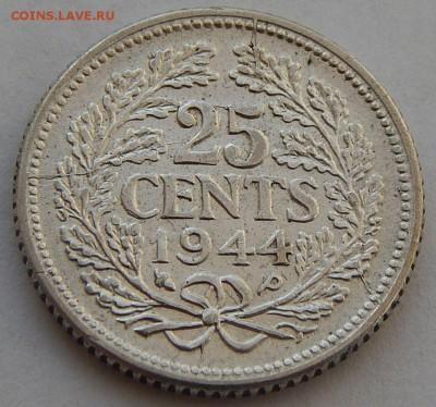 Нидерланды 25 центов 1944, до 08.12.16 в 22:00 МСК - 4537