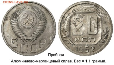 Монеты 2017 года - 20 копеек 1952 алюминиево-марганцевый сплав