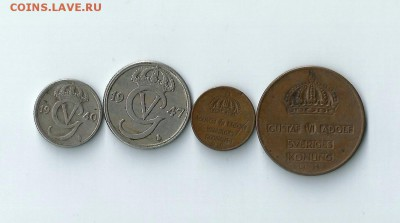 4 монеты Швеции до 11.02.2017 22:00 - Шв-02