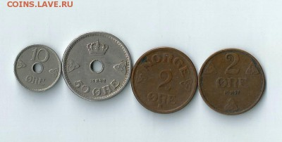 4 монеты Норвегии до 11.02.2017 22:00 - Нор-01