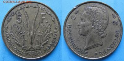 Французская Западная Африка 5 франков 1956: до 22-02-17 в 22 - Франц Зап Африка 5 франков 1956    160-кл2-5896