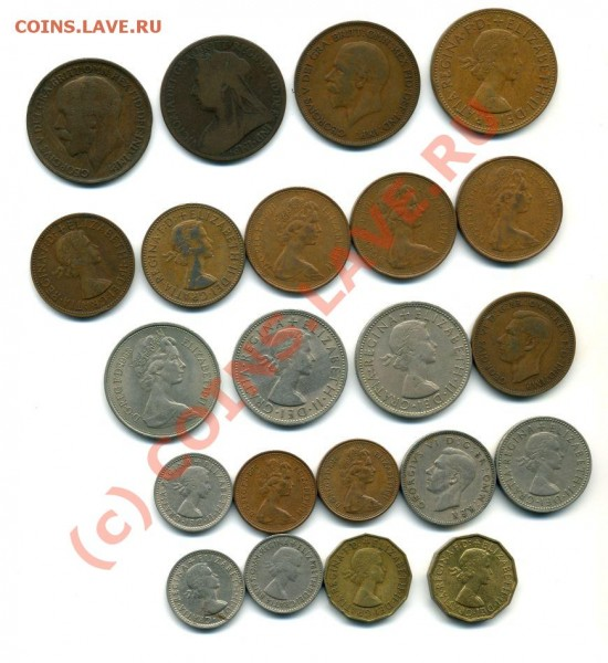 английские монеты разных номиналов (шиллинг, пенс, пол пенса - англ11