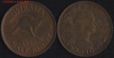 2 пенни 1953 до 22:00мск 14.04.17 - Австралия 0,5 пенни 1953