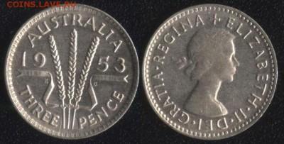 Австралия 3 пенса 1953 до 22:00мск 14.04.17 - Австралия 3 пенса 1953
