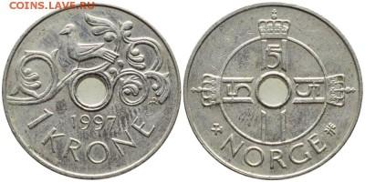 Норвегия 1 крона, 1997 - 2016 Медно-никелевый сплавКороль Харальд V - 93-1111_b