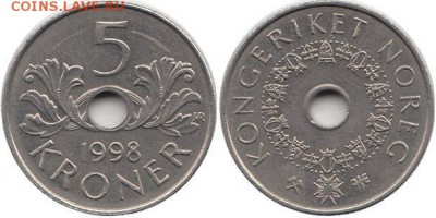 Монеты с отверстием в центре - 5 крон