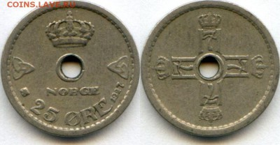 Монеты с отверстием в центре - 25 эре 27