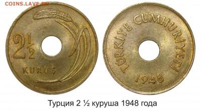 Монеты с отверстием в центре - Турция 2 1_2 куруша 1948 года