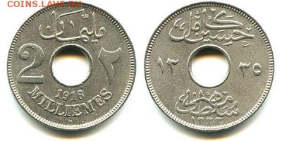 Египет 2 миллима, (1916-1921)Медно-никелевый сплав - Египет 1916  2 миллима(1916-1921)