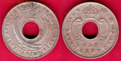 Восточная Африка и Уганда Протекторат 1 цент 1912 - Восточная Африка и Уганда Протекторат 1 цент 1912