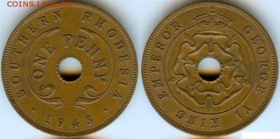 Монеты с отверстием в центре - 1 пени бронза