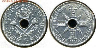 Монеты с отверстием в центре - Новая Гвинея, шиллинг 1935
