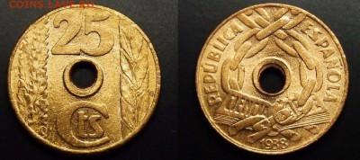 Монеты с отверстием в центре - Испания – 25 сентимо (1938) медь (UNC)