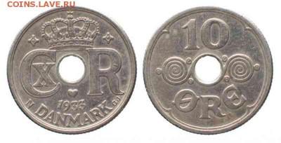 Монеты с отверстием в центре - Дания 10 эре, 1933