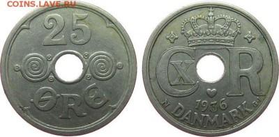 Монеты с отверстием в центре - Дания 25 эре, 1936