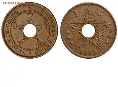 Монеты с отверстием в центре - Бельгийское Конго 1 цент 1910