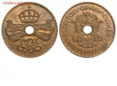 Монеты с отверстием в центре - Британская Новая Гвинея 1 пенни 1936