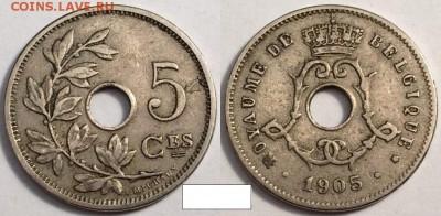 Монеты с отверстием в центре - 5 1905 на франц
