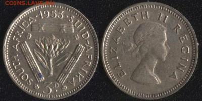 Южная Африка 3 пенса 1953 до 22:00мск 03.05.17 - Южная Африка 3 пенса 1953