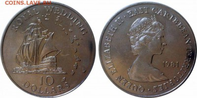 Крона Шайба Восточный Карибы 10$ долларов 1981 Свадьба - карибан_enl