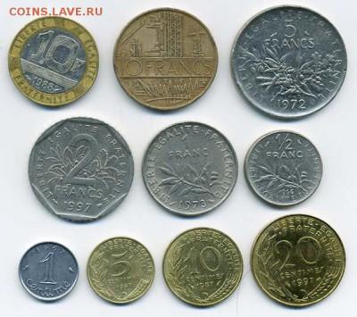Подборка монет Франции, 10 шт. - подборка_Франция-10шт_р