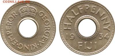 Монеты с отверстием в центре - 1.2 пени 1934