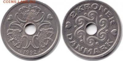 Монеты с отверстием в центре - 2 кроны 1992