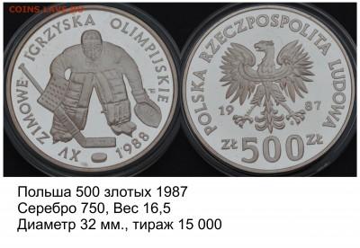 Хоккей на монетах - Польша 500 злотых 1987