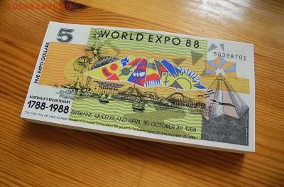 Австралия  5 долларов 1988 год.  ЭКСПО.  UNC  100 штук. - Австралия 5