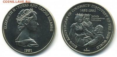 Крона Шайба Теркс и Кайкос 5 крон 1991 открытие Америки UNC - krona_shajba_terks_i_kajkos_5_kron_1991_otkrytie_ameriki_unc