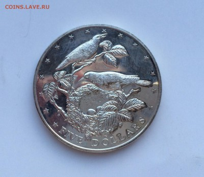 Острова Кука 5$ долларов 1978 птицы Серебро - IMG_1351.JPG