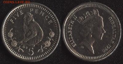 с 200 руб. Мэн+Гибралтар 4 монеты до 22:00мск 25.08.17 - Гибралтар 5 пенсов 1990 =55