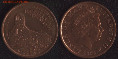 с 200 руб. Мэн+Гибралтар 4 монеты до 22:00мск 25.08.17 - Остров Мэн 1 пенни 2002