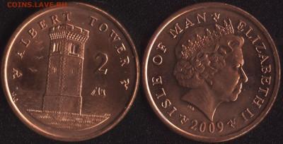 с 200 руб. Мэн+Гибралтар 4 монеты до 22:00мск 25.08.17 - Остров Мэн 2 пенса 2009