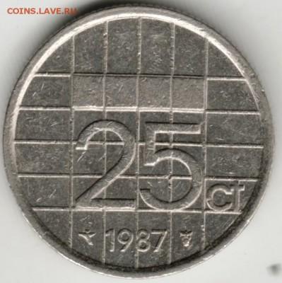 Нидерланды 25 центов 1987 г. до 24.00 28.08.17 г. - Scan-170819-0015