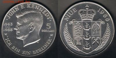 "Ниуэ 5$ 1988 ""Дж. Ф. Кеннеди"" до 09.09.17 в 22:00 МСК - Niue_KM#17_03092017"